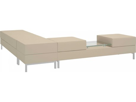 Dauphin Aleta Two Seat Bench with Glass Table Top