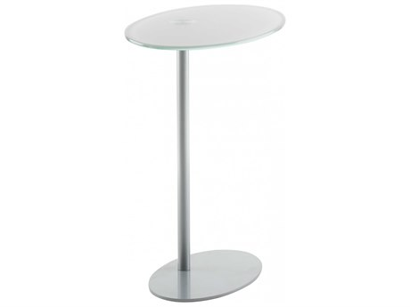 Dauphin Entice Glass and Silver Base 20''L x 12''W Oval Pull-Up Side Table DAUEN6200400GL