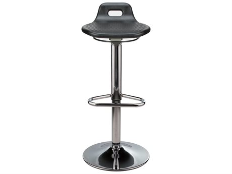 Dauphin Octave Round Black Saddle Seat Bar Stool DAUOC9288CHFPP
