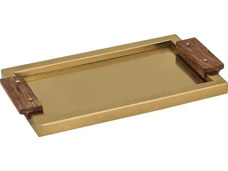 Dimond Home Brass Serving Tray with Wood Handles