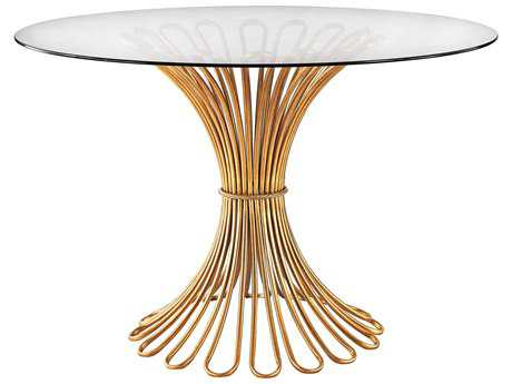 Dimond Home Flaired Rope 48'' Round Gold Leaf & Clear Glass Entry Table LS1114203