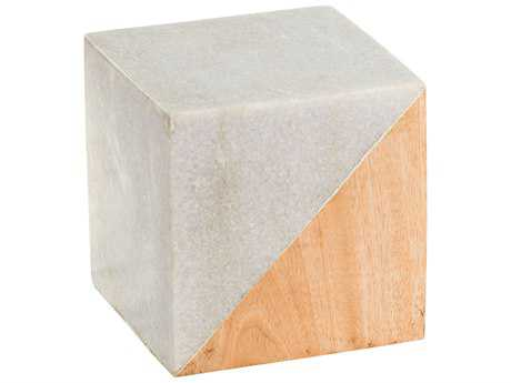 Dimond Home White Marble & Wood Large Split Cube LS8989014