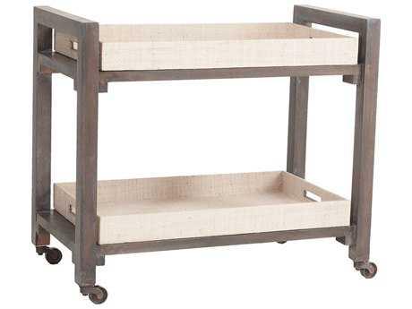 Dimond Home Wright Warm Grey & Natural Rattan Bar Cart