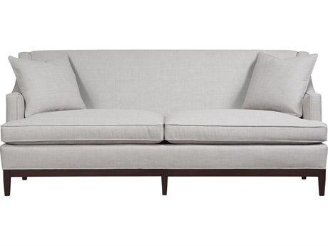 Duralee Cardiff Tight Back Loveseat with Cafe Wood Base & Two Throw Pillows DRL1061760
