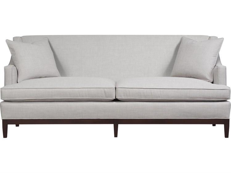 Duralee Cardiff Back Sofa With Cafe Wood Base Two Throw Pillows 10 617