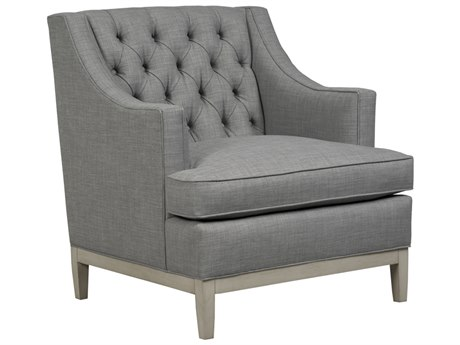 Duralee Carmel Button Tufted Tight Back Accent Chair with Smoke Wood Base DRL30612