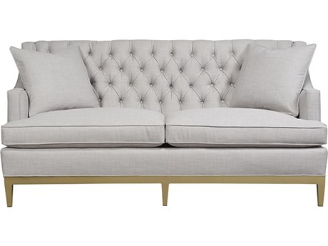 Duralee Carmel Button Tufted Back Sofa with Chablis Metal Base & Two Throw Pillows