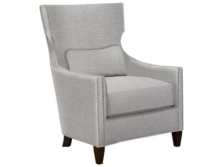 Duralee Corbin Tight Back Wing Accent Chair with Nailhead & Black Walnut Base DRL30750