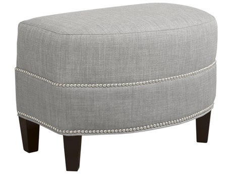 Duralee Corbin Demi-Lune Ottoman with Tight Top & Nailhead