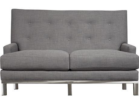Duralee Downtown Tight Back Loveseat with Platinum Metal Base
