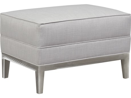 Duralee Eastside Tight Top Ottoman with Platinum Metal Base