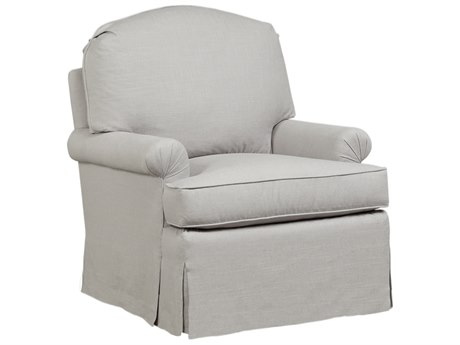 Duralee Hannah Knife Edge Accent Chair with Rolled Arms & Waterfall Skirt