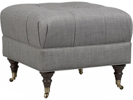 Duralee Janus Square Tufted Ottoman with Caster
