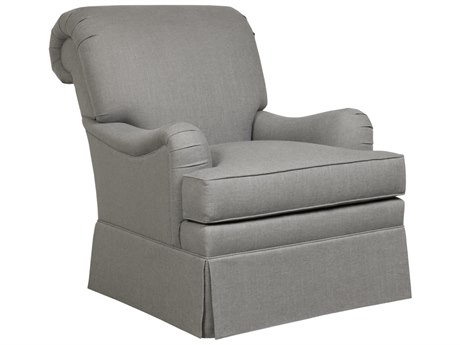 Duralee Manhasset Rolled Tight Back Accent Chair with English Arms & Kick Pleat Skirt