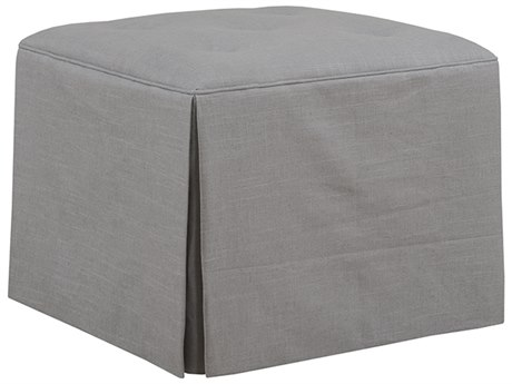 Duralee Middleton Ottoman with Button & Skirt