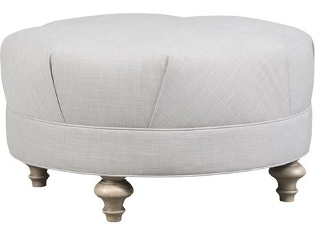 Duralee Palmer Round Ottoman with Button