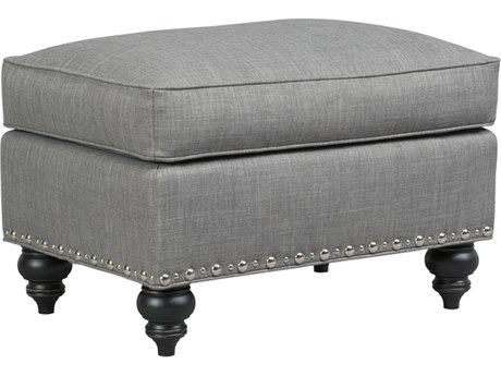 Duralee Parkdale Ottoman with Semi Attached Top & Nailhead