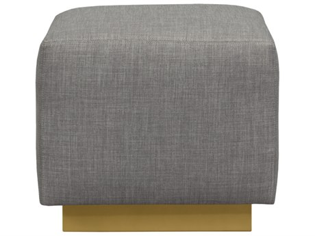 Duralee Trent Cubed Ottoman with Chablis Metal Plinth Base