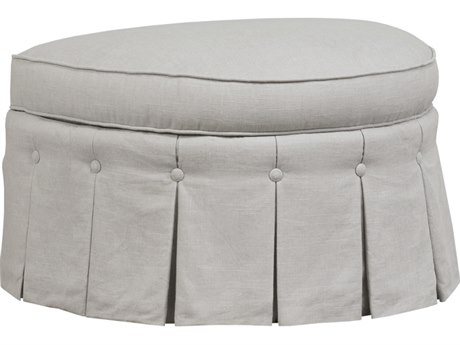 Duralee Tuscany Demi-Lune Ottoman with Pleated Waterfall Skirt & Button Devil