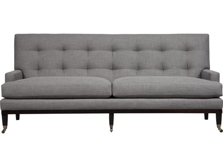 Duralee Uptown Tight Biscuit Back Loveseat with Black Walnut Wood Base & Caster