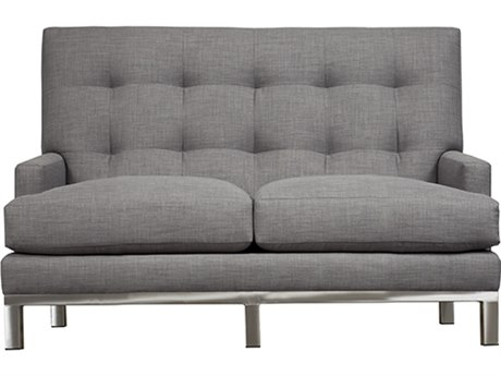 Duralee Uptown Tight Biscuit Back Loveseat with Platinum Metal Base