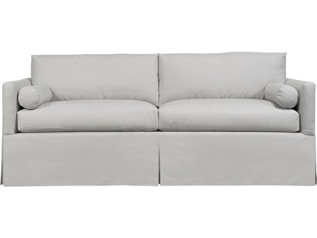 Duralee Whister Boxed Back Queen Sleeper Sofa with Waterfall Skirt & Two Bolsters DRL105475Q
