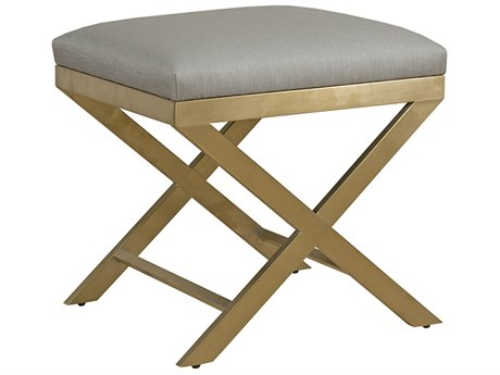 Duralee Zane Accent Bench with X-Shaped Chablis Metal Base