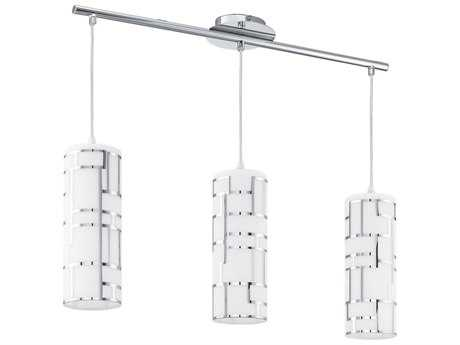 Eglo Bayman Chrome & White Decor Glass Three-Light 29'' Long Island Light EGL92563A