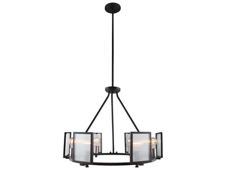Eglo Henessy Black / Brushed Nickel 25'' Wide Glass Medium Chandelier EGL203725A