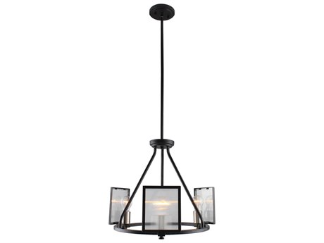 Eglo Henessy Black / Brushed Nickel 18'' Wide Glass Mini Chandelier EGL203724A