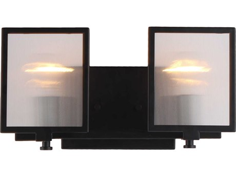 Eglo Henessy Black / Brushed Nickel Glass Vanity Light