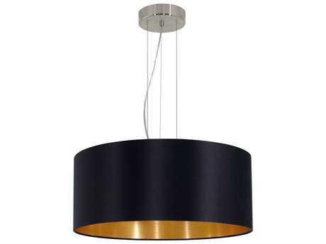 Eglo Maserlo Satin Nickel Three-Light 21'' Wide Pendant Light with Black & Gold Fabric EGL31605A