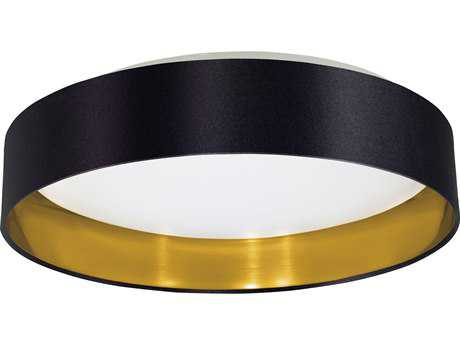 Eglo Maserlo Black & Gold 16'' Wide LED Semi-Flush Mount Light with Black & Gold Fabric EGL31622A