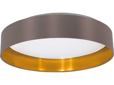 Eglo Maserlo Satin Nickel 16'' Wide LED Semi-Flush Mount Light with Cappuccino & Gold Fabric