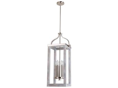 Eglo Montrose Acacia Wood & Brushed Nickel Five-Light 11'' Wide Pendant Light EGL203105A
