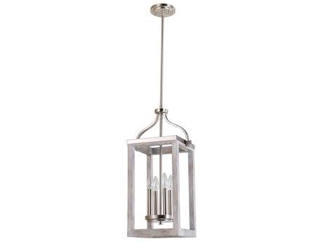 Eglo Montrose Acacia Wood & Brushed Nickel Four-Light 11'' Wide Pendant Light EGL203106A