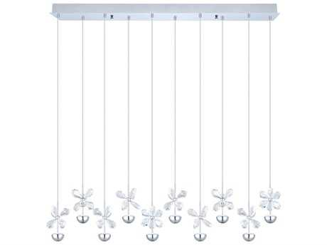 Eglo Pianopoli Chrome Ten-Light 34'' Long LED Island Light EGL93663A