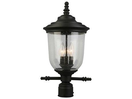 Eglo Pinedale Matte Black Three-Light Outdoor Post Light EGL202804A