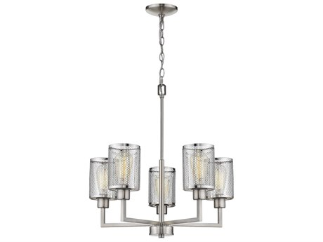 Eglo Verona Brushed Nickel 22'' Wide Industrial Mini Chandelier EGL203471A
