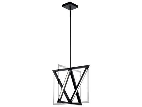 Elan Axis Matte Black / Chrome 20'' Wide LED Pendant Light ELA84082