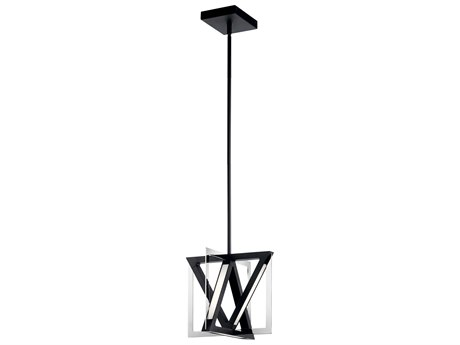 Elan Axis Matte Black / Chrome 12'' Wide LED Pendant Light ELA84083