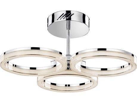 Elan Ithican Chrome Three-Light 26'' Wide LED Semi-Flush Mount