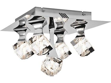 Elan Rockne Chrome Five-Light 14'' Wide Flush Mount ELA83129