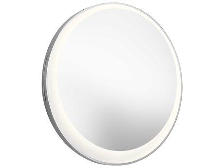 Elan Frosted / White Acrylic 30'' Round Offset Lighted Wall Mirror ELA84077