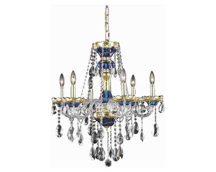 Elegant Lighting Alexandria Royal Cut Blue & Crystal Six-Light 24'' Wide Chandelier EG7810D24BE