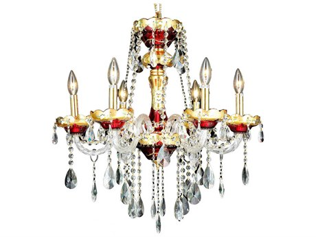 Elegant Lighting Alexandria Gold Six-Light 24'' Wide Chandelier With Royal Cut Crystal