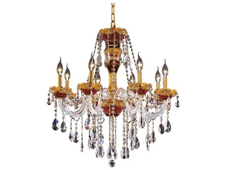 Elegant Lighting Alexandria Gold Eight-Light 26'' Wide Chandelier with Elegant Cut Crystal