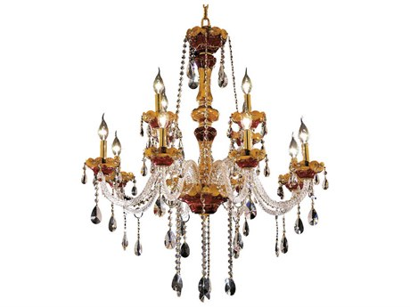 Elegant Lighting Alexandria Gold 12-Light 33'' Wide Chandelier With Royal Cut Crystal