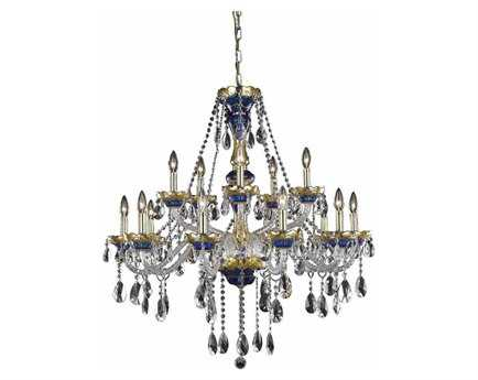 Elegant Lighting Alexandria Royal Cut Blue & Crystal 15-Light 35'' Wide Chandelier EG7810G35BE