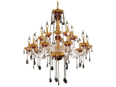 Elegant Lighting Alexandria Gold 15-Light 35'' Wide Chandelier With Royal Cut Crystal